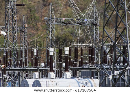 Power station and power lines in thailand