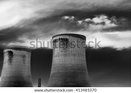 Power station cooling towers - stock photo