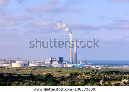 Power station near Ashkelon in Israel - stock photo
