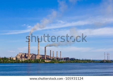 power station on a river coast