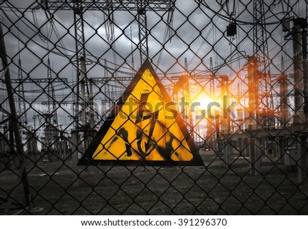 power station with transformers and high-voltage power lines. top view. - stock photo