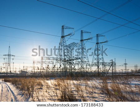 power substation against the background of the sunny sky
