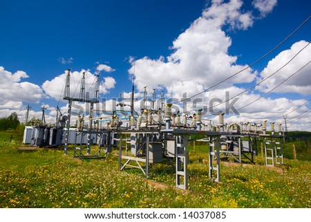 power substation on a field - stock photo