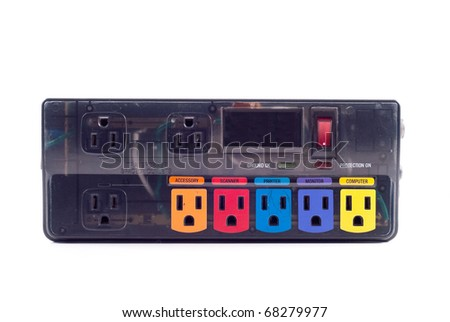 Power Surge Protector with Specially Designated Inputs - stock photo