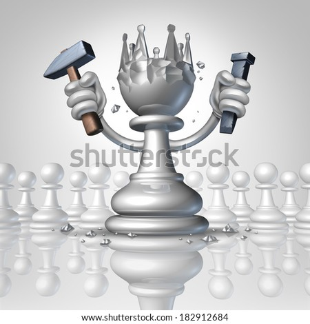 Power to change personal growth concept with a chess pawn using a hammer and chisel sculpting a king crown from his body as a business concept of taking control of your destiny with leadership. - stock photo
