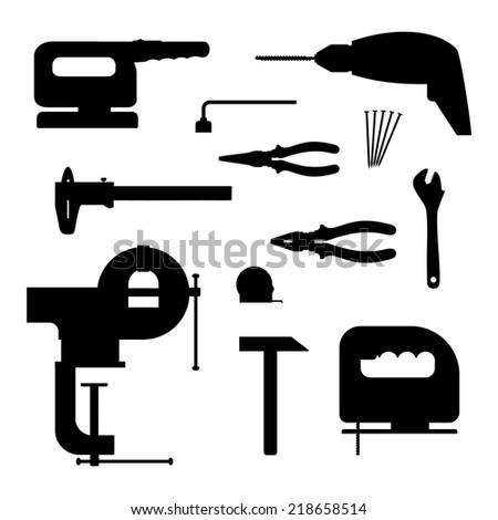 Power tools. Black silhouette illustration. - stock photo