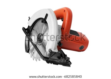 Power Tools, circular saw on white background