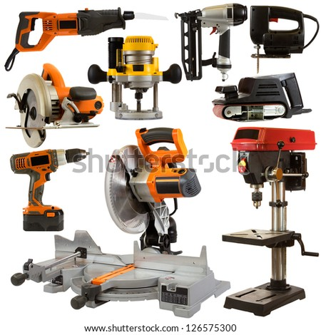 Power Tools Isolated on a White Background - stock photo