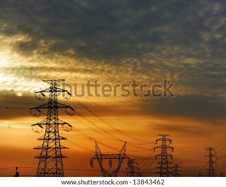 Power tower and Lines - stock photo