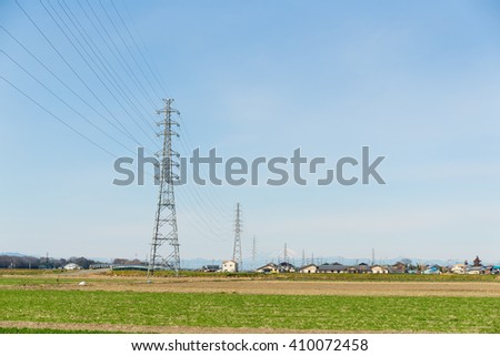 Power tower and transmission lines - stock photo