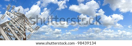 Power Tower. Blue sky and clouds for background. 3d render. Panorama - stock photo