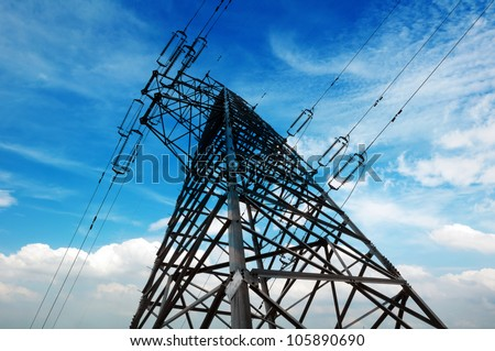 Power tower in the sky background