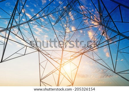 Power tower in the sky background - stock photo