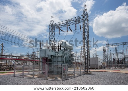 Power transformer in substation - stock photo