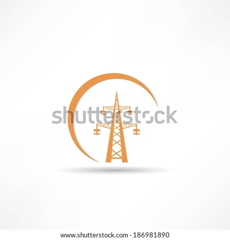 Power transmission tower icon - stock photo