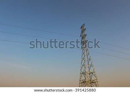 power transmission tower on the sky. - stock photo