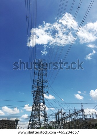 power transmission tower with sky blue