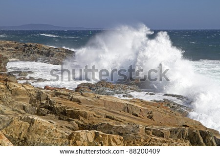 Power - Waves hit the rugged coast -  Acadia National Park, Maine, USA - stock photo