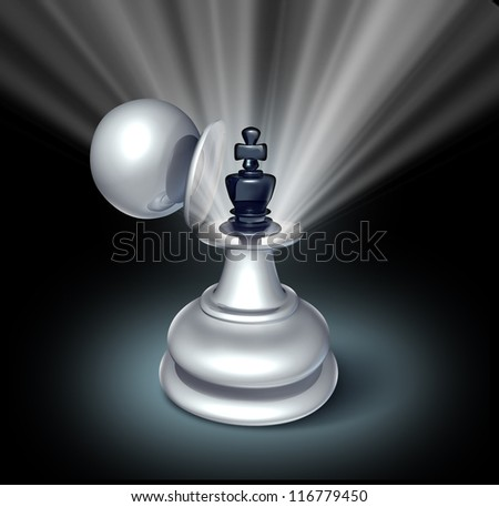 Power within and Leadership potential as an emerging business as a chess game king figurine inside a large pawn disguise as a concept for strategy of success on a star burst shinning light on black. - stock photo