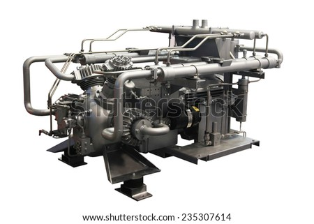 Powerful air compressor isolated on white background - stock photo