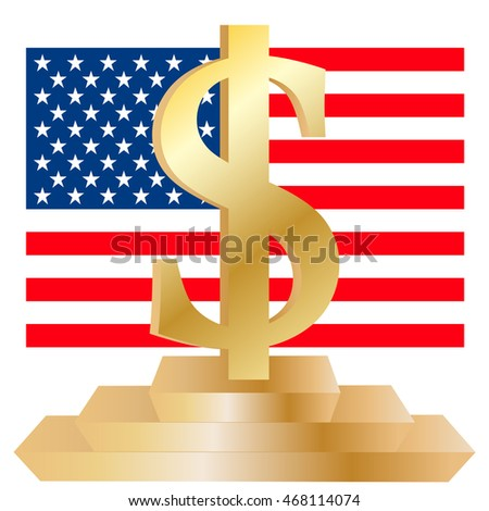Powerful American Dollar 3D Symbol against United States Flag, Isolated on white