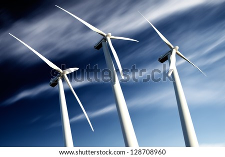 powerful and ecological energy concept .Industrial wind installation - stock photo