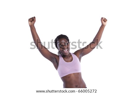 Powerful athletic african woman isolated on white - stock photo