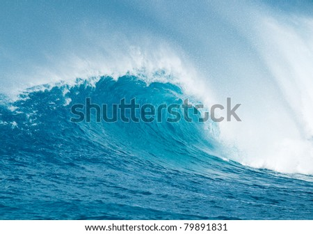 Powerful Blue Ocean Wave - stock photo