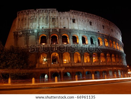 Powerful Colosseum at night, Rome