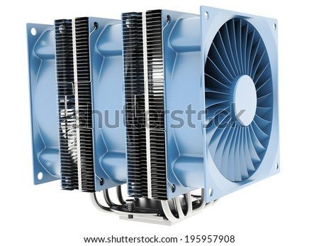 Powerful  CPU cooler with 6 heatpipes isolated on white background.