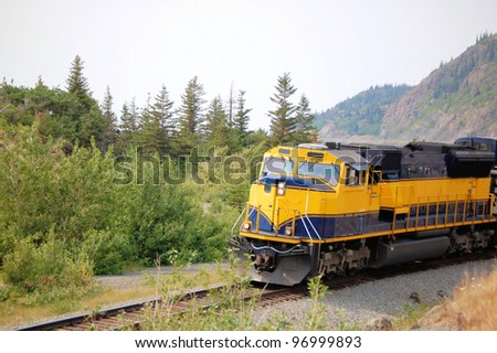 Powerful Diesel Locomotive in Kenai Peninsula, Alaska - stock photo