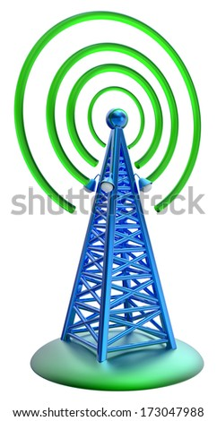 Powerful digital transmitter for TV, mobile and multimedia broadcast sends information signals from high tower - stock photo