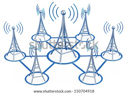Powerful digital transmitters for TV, mobile and multimedia broadcast sends information signals from high tower - stock photo