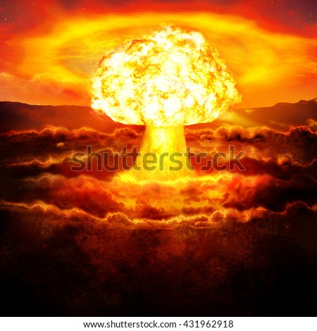 Powerful explosion of the atomic bomb in the desert. Nuclear war. A high resolution. - stock photo