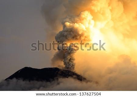Powerful explosion of Tungurahua volcano on 6th of May 2013, Ecuador , South America - stock photo