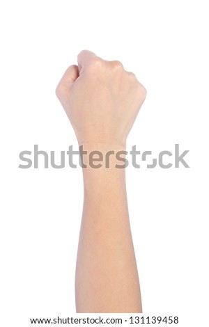 Powerful fist pump against woman hands a white background - stock photo