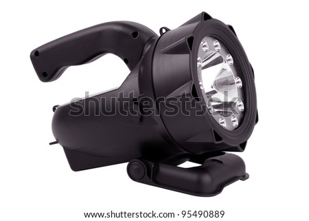 Powerful flashlight in a plastic case on  white background