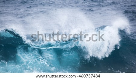powerful foamy ocean waves breaking natural water background