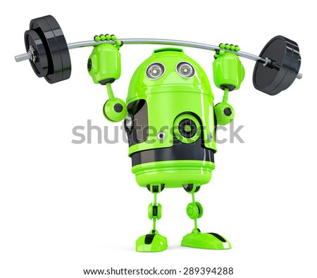 Powerful Green Robot. Technology concept. Isolated on white. Contains clipping path.