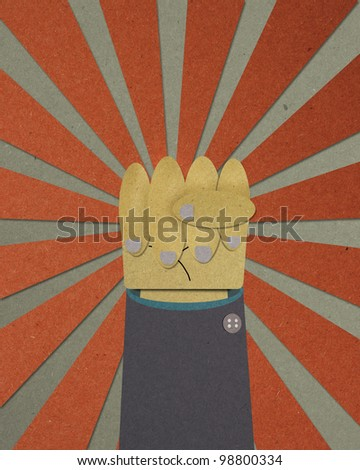 Powerful hand posting on abstract ray background. business concept To achieve, leading and motivating the team. - stock photo