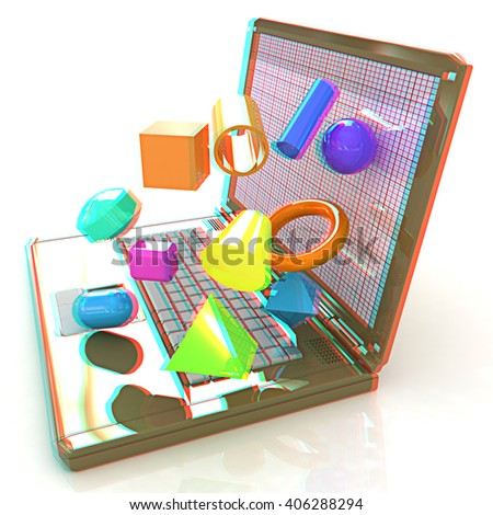 Powerful laptop specially for 3d graphics and software on a white background. 3D illustration. Anaglyph. View with red/cyan glasses to see in 3D. - stock photo