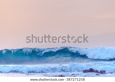 Powerful ocean waves along of the coast - stock photo