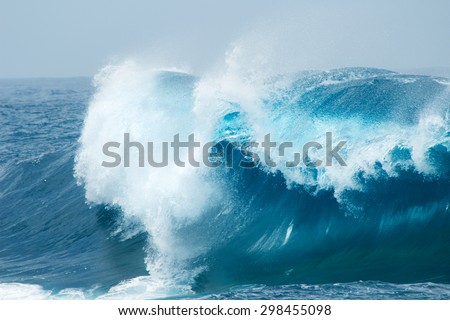powerful ocean waves breaking natural background - stock photo