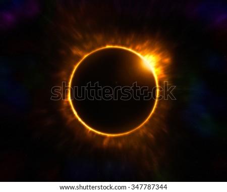 Powerful Solar Eclipse - stock photo