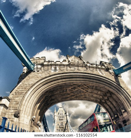 Powerful structure of Tower Bridge in London - UK - stock photo