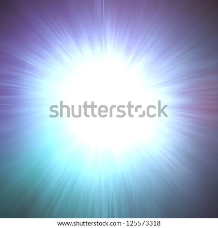 powerful sunburst ray or zoom effect, vibrant white center spot with lens flare beam design or frame with black border, motion blur tunnel or spreading sunshine sky illustration, combustion flash - stock photo