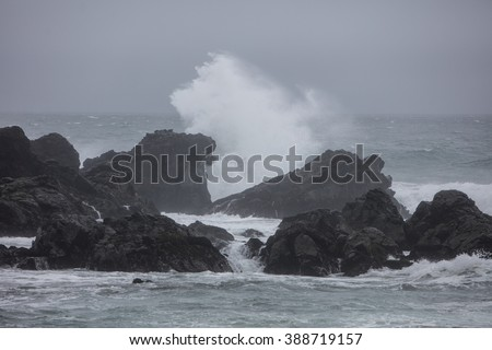 Powerful waves crash on the rocky northern California coastline during a storm. The rugged scenery of this region has been shaped by weather over millions of years.