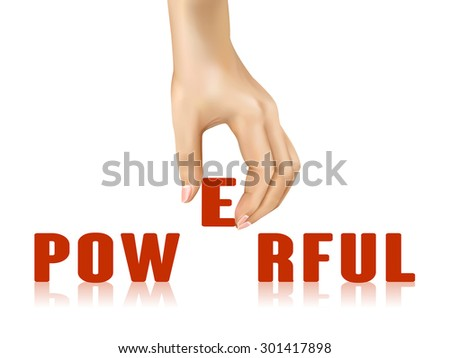 powerful word taken away by hand over white background