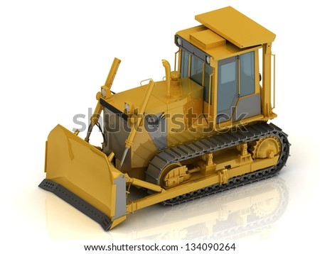 Powerful yellow crawler with a hydraulic shovel