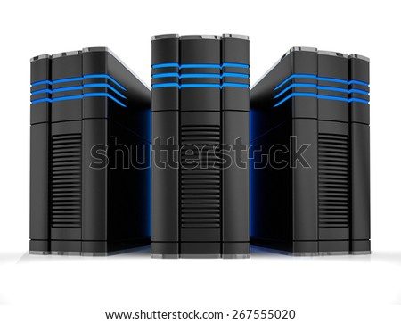 Powerfull computers isolated on white - stock photo